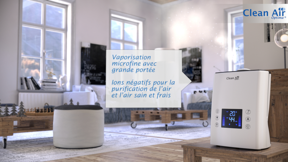 2 en 1 avec humidification par ultrasons et purification de l'air par ionisation
