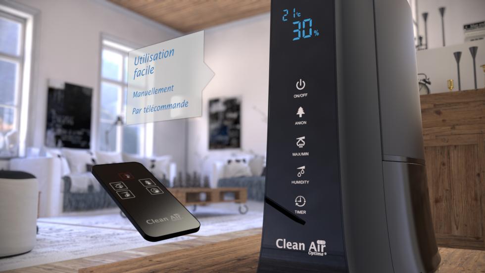 L´humidificateur ultrason CA-603 de Clean Air Optima possède un hygrostate numérique et une télécommande, qui permet de régler l´humidité voulue de manière optimale.