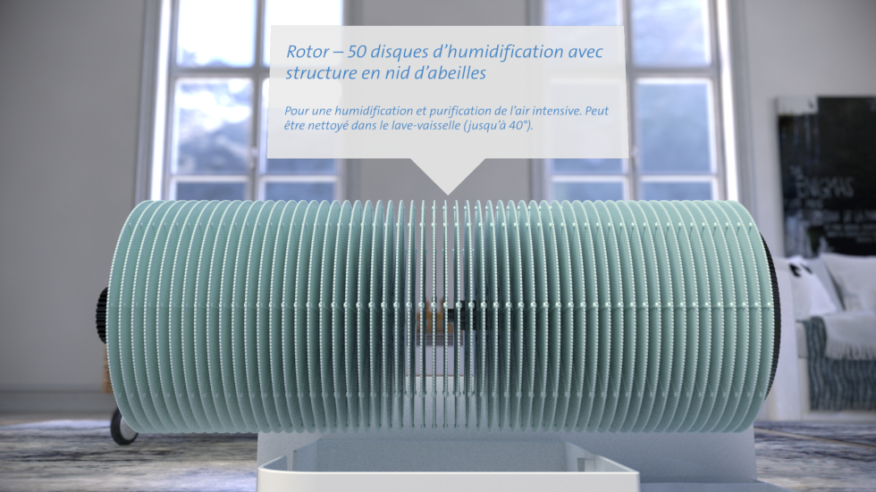 L'exceptionnel épurateur d'air CA-803 de Clean Air Optima ne purifie non seulement l'air ambiant, mais émets en même temps de l'air humidifié.