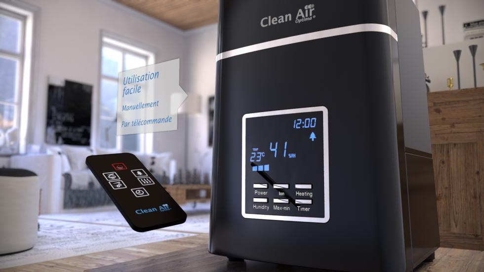 Quatre fonctions: Humidification chaude et froide / avec ou sans purification de l´air, Technologie: Ultrason avec préchauffage de l´eau