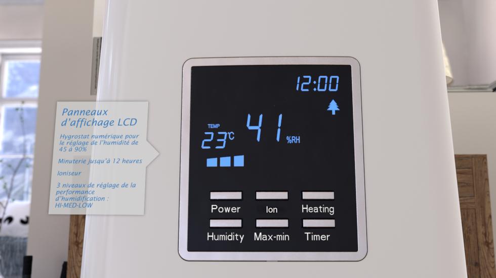 Cet humidificateur efficace crée l´humidité optimale par vaporisation chaude ou froide et de l´air frais et sain à l´intérieur dans les pièces jusqu´à 55m² / 140m³.