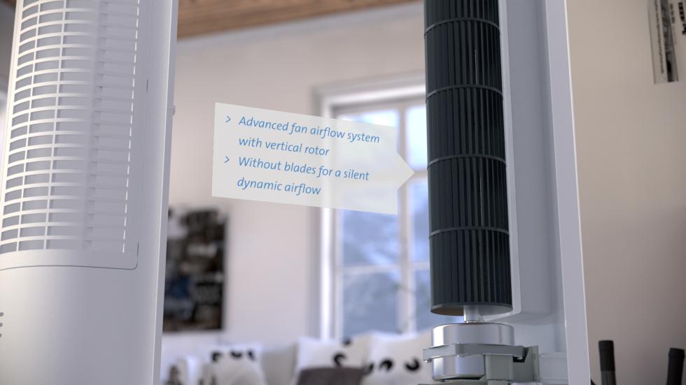 Système de ventilation très silencieux, Le système de ventilation CA-405 est équipé de trois réglages pour le ventilateur.